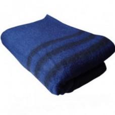 Одеяло полушерстяное армейское Ярослав 130х205 синее с полосами (840 г/см2)